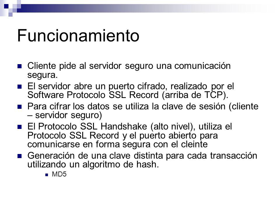 Funcionamiento Cliente pide al servidor seguro una comunicación segura. El servidor abre un puerto cifrado, realizado por el Software Protocolo SSL Re