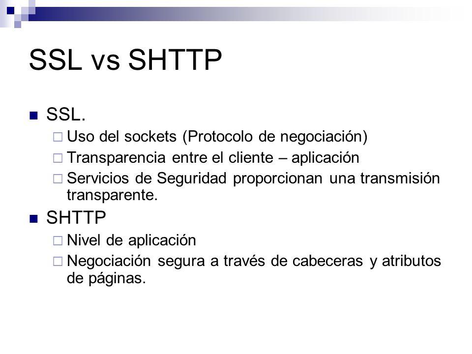 SSL vs SHTTP SSL. Uso del sockets (Protocolo de negociación) Transparencia entre el cliente – aplicación Servicios de Seguridad proporcionan una trans