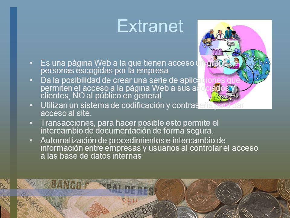 Extranet Es una página Web a la que tienen acceso un grupo de personas escogidas por la empresa. Da la posibilidad de crear una serie de aplicaciones
