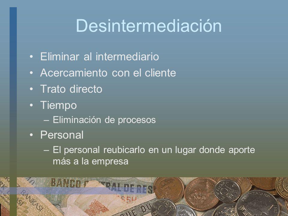 Desintermediación Eliminar al intermediario Acercamiento con el cliente Trato directo Tiempo –Eliminación de procesos Personal –El personal reubicarlo