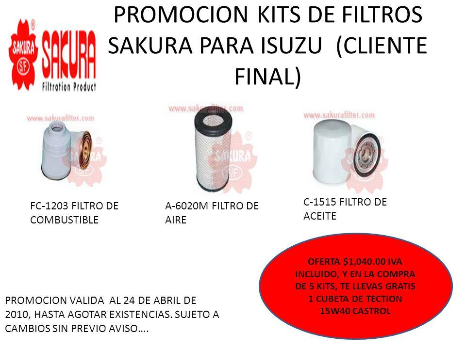 PROMOCION KITS DE FILTROS SAKURA PARA ISUZU (CLIENTE FINAL) FC-1203 FILTRO DE COMBUSTIBLE A-6020M FILTRO DE AIRE C-1515 FILTRO DE ACEITE OFERTA $815.0