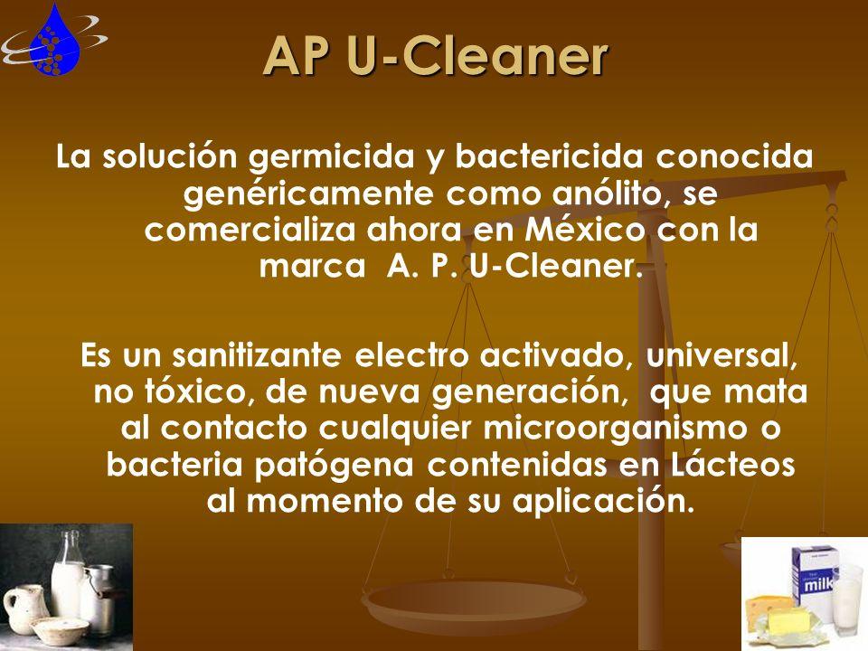 AP U-Cleaner La solución germicida y bactericida conocida genéricamente como anólito, se comercializa ahora en México con la marca A. P. U-Cleaner. Es
