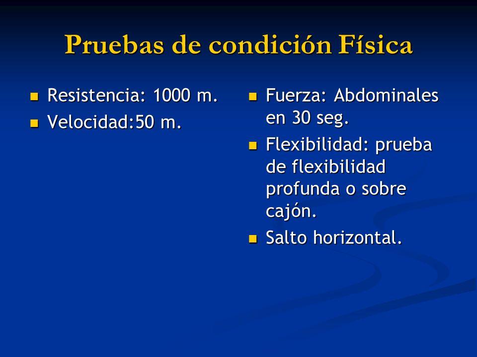 Pruebas de condición Física Resistencia: 1000 m. Resistencia: 1000 m. Velocidad:50 m. Velocidad:50 m. Fuerza: Abdominales en 30 seg. Flexibilidad: pru