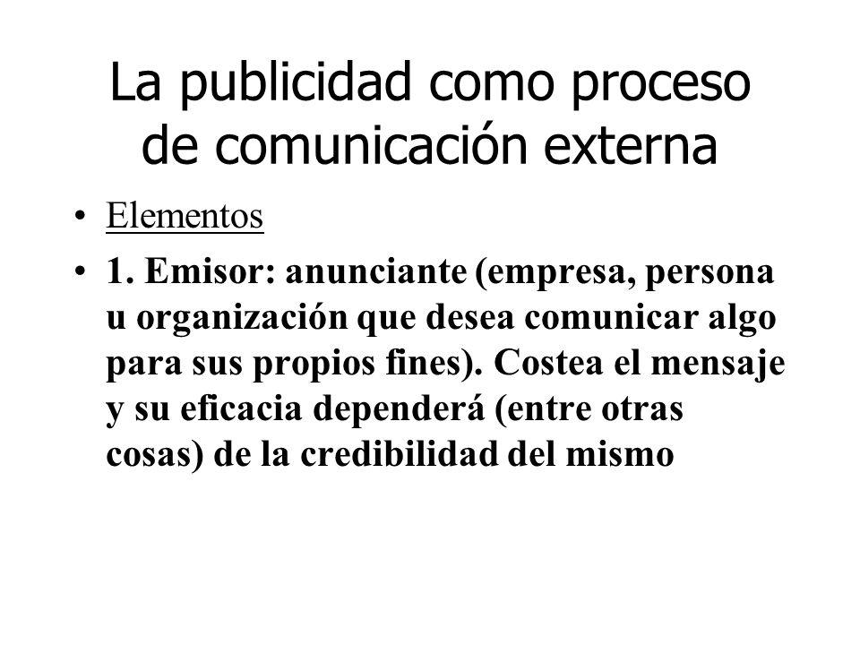 La publicidad como proceso de comunicación externa Elementos 1. Emisor: anunciante (empresa, persona u organización que desea comunicar algo para sus