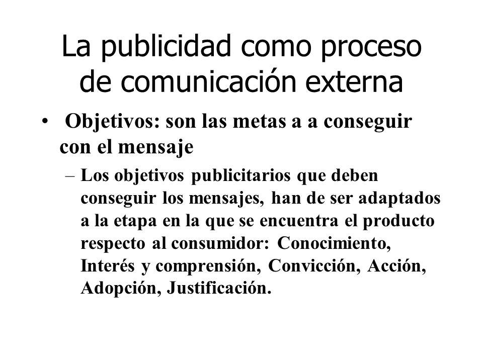 La publicidad como proceso de comunicación externa Objetivos: son las metas a a conseguir con el mensaje –Los objetivos publicitarios que deben conseg