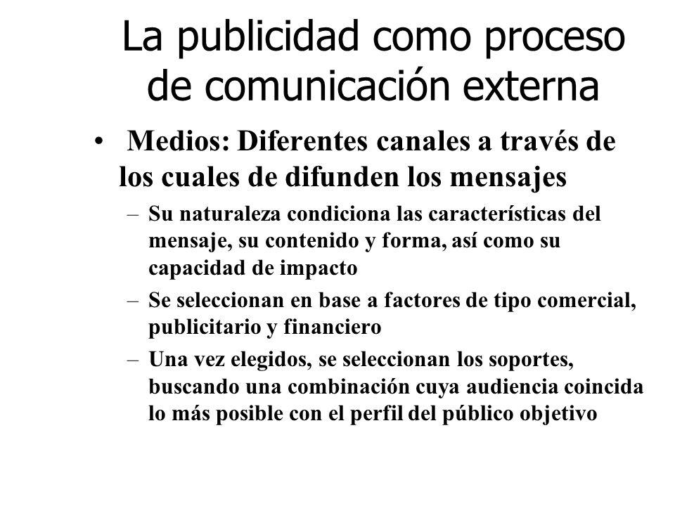 La publicidad como proceso de comunicación externa Medios: Diferentes canales a través de los cuales de difunden los mensajes –Su naturaleza condicion