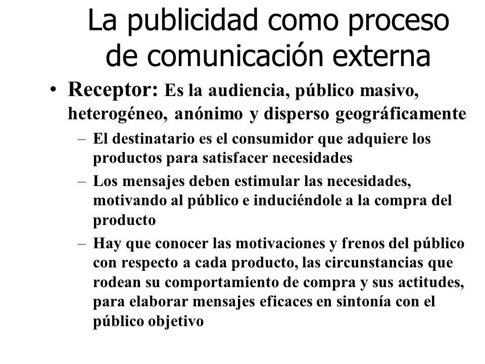 La publicidad como proceso de comunicación externa Receptor: Es la audiencia, público masivo, heterogéneo, anónimo y disperso geográficamente –El dest