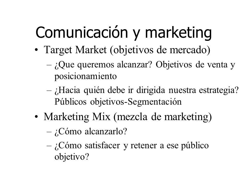 Comunicación y marketing Target Market (objetivos de mercado) –¿Que queremos alcanzar? Objetivos de venta y posicionamiento –¿Hacia quién debe ir diri