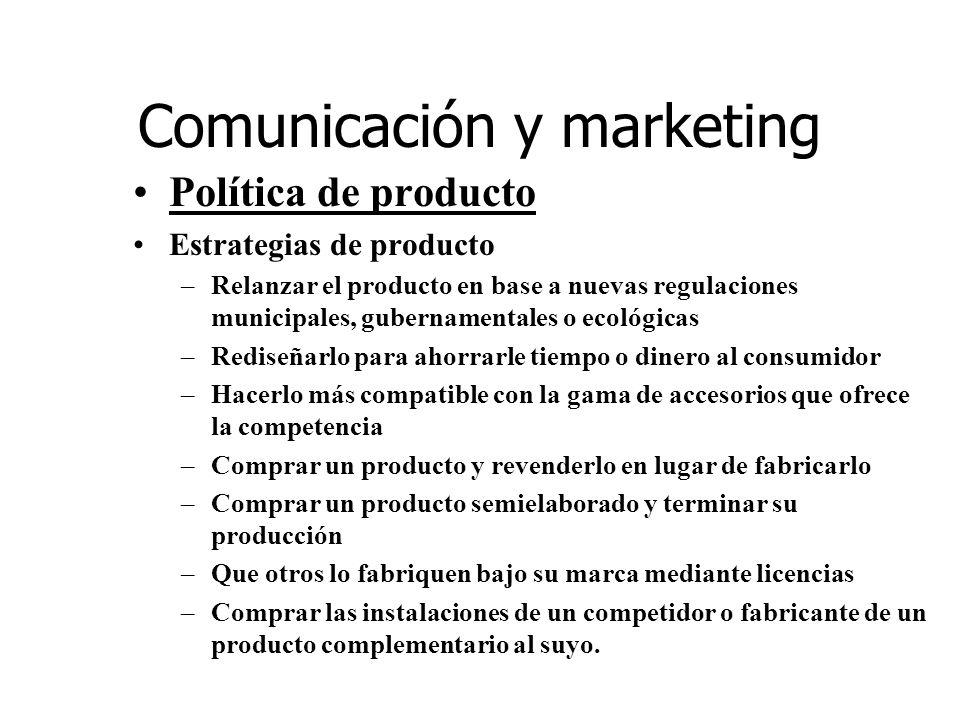 Comunicación y marketing Política de producto Estrategias de producto –Relanzar el producto en base a nuevas regulaciones municipales, gubernamentales