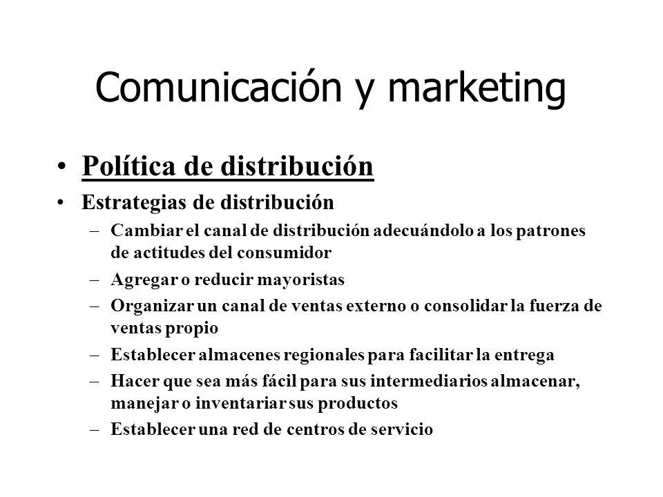Comunicación y marketing Política de distribución Estrategias de distribución –Cambiar el canal de distribución adecuándolo a los patrones de actitude