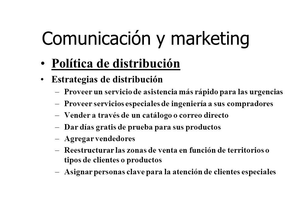 Comunicación y marketing Política de distribución Estrategias de distribución –Proveer un servicio de asistencia más rápido para las urgencias –Provee