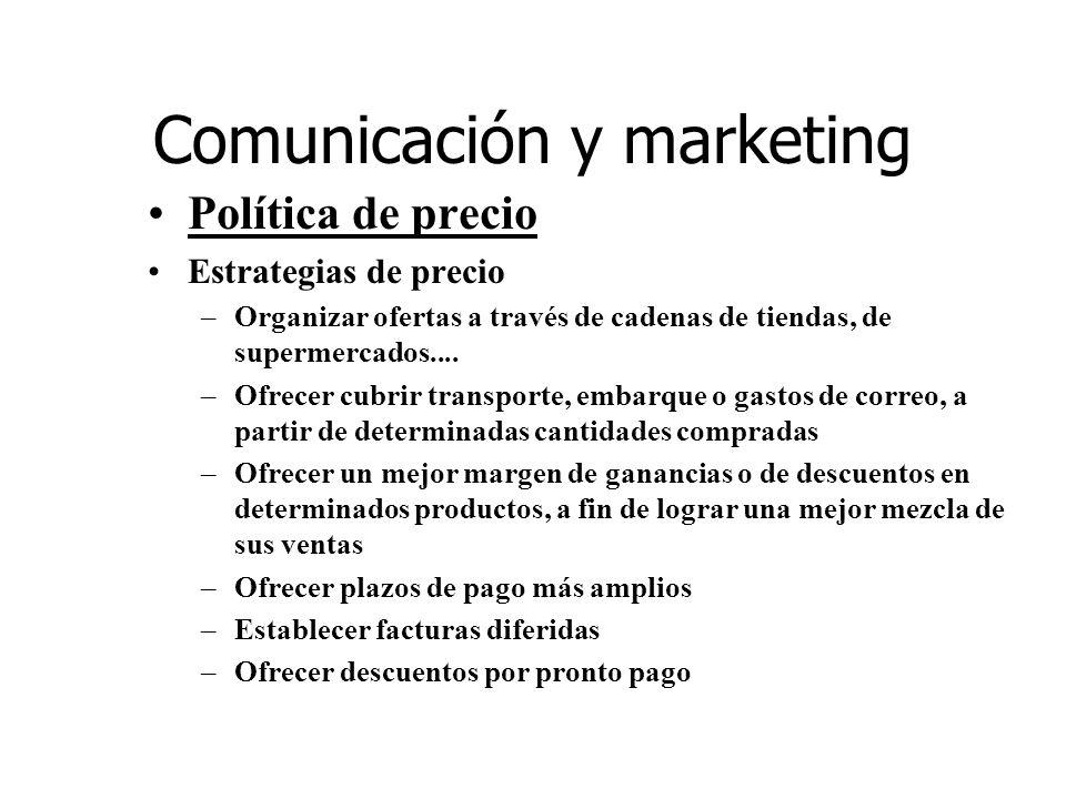 Comunicación y marketing Política de precio Estrategias de precio –Organizar ofertas a través de cadenas de tiendas, de supermercados.... –Ofrecer cub