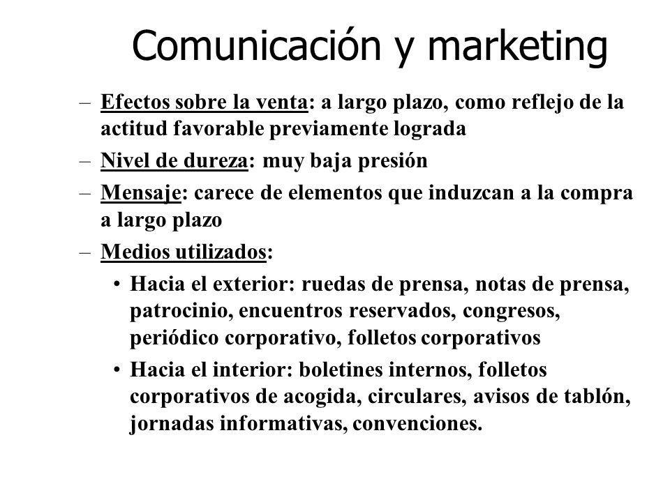 Comunicación y marketing –Efectos sobre la venta: a largo plazo, como reflejo de la actitud favorable previamente lograda –Nivel de dureza: muy baja p