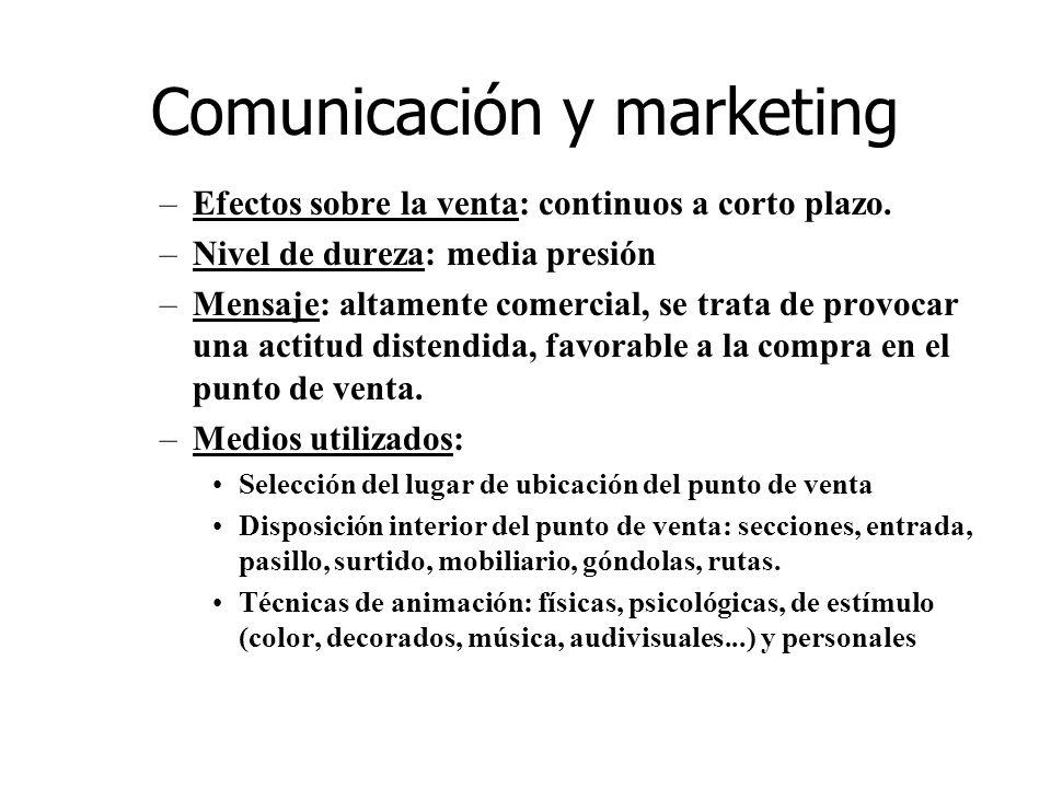 Comunicación y marketing –Efectos sobre la venta: continuos a corto plazo. –Nivel de dureza: media presión –Mensaje: altamente comercial, se trata de