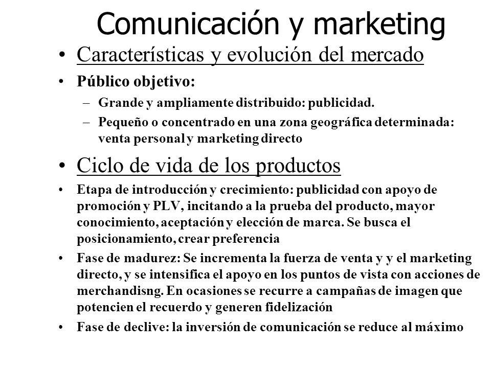 Comunicación y marketing Características y evolución del mercado Público objetivo: –Grande y ampliamente distribuido: publicidad. –Pequeño o concentra