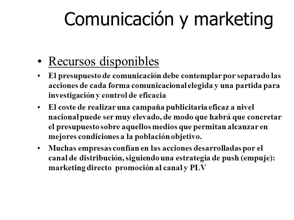 Comunicación y marketing Recursos disponibles El presupuesto de comunicación debe contemplar por separado las acciones de cada forma comunicacional el