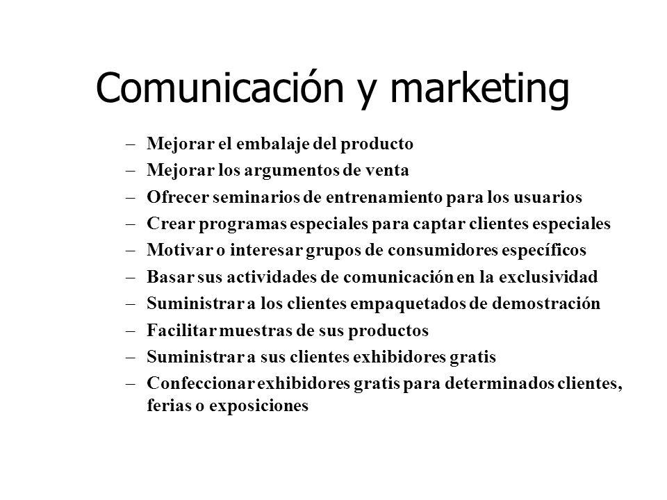 Comunicación y marketing –Mejorar el embalaje del producto –Mejorar los argumentos de venta –Ofrecer seminarios de entrenamiento para los usuarios –Cr