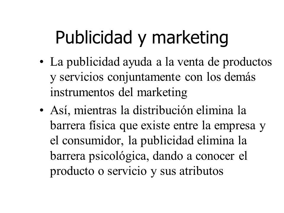 Publicidad y marketing La publicidad ayuda a la venta de productos y servicios conjuntamente con los demás instrumentos del marketing Así, mientras la