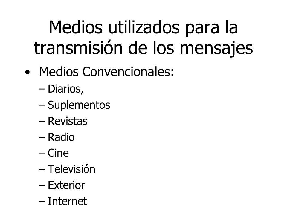 Medios utilizados para la transmisión de los mensajes Medios Convencionales: –Diarios, –Suplementos –Revistas –Radio –Cine –Televisión –Exterior –Inte