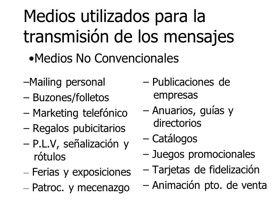 Medios utilizados para la transmisión de los mensajes Medios No Convencionales –Mailing personal – Buzones/folletos – Marketing telefónico – Regalos p