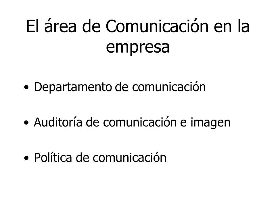 El área de Comunicación en la empresa Departamento de comunicación Auditoría de comunicación e imagen Política de comunicación