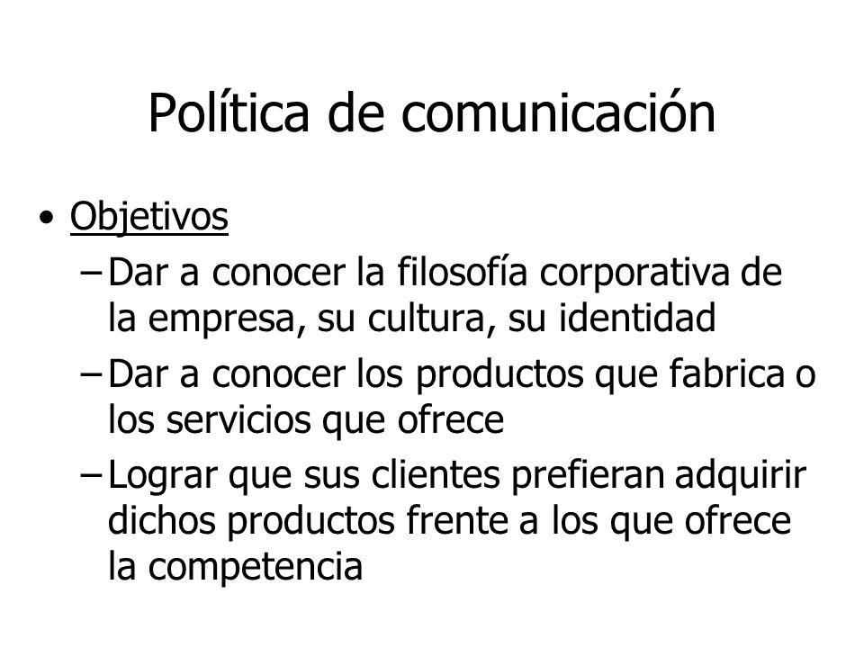 Objetivos –Dar a conocer la filosofía corporativa de la empresa, su cultura, su identidad –Dar a conocer los productos que fabrica o los servicios que