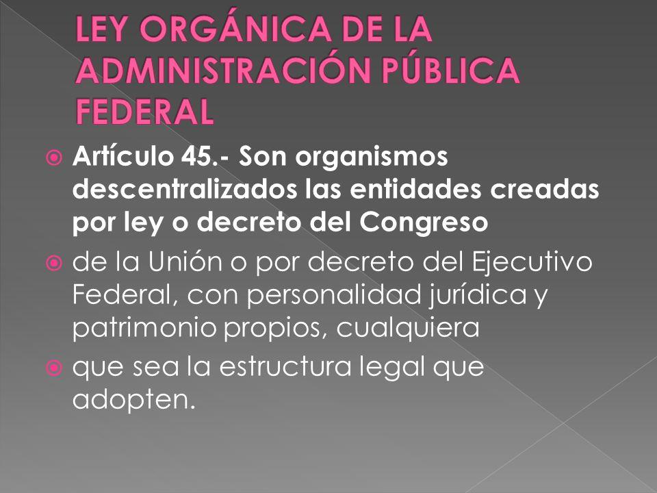 Artículo 45.- Son organismos descentralizados las entidades creadas por ley o decreto del Congreso de la Unión o por decreto del Ejecutivo Federal, con personalidad jurídica y patrimonio propios, cualquiera que sea la estructura legal que adopten.