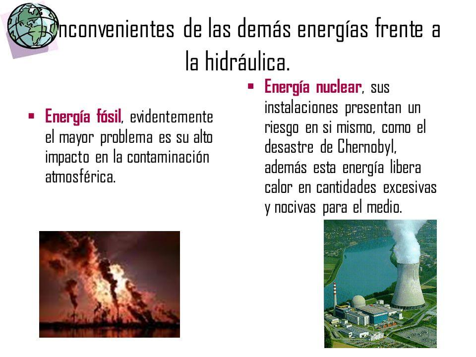 Inconvenientes de las demás energías frente a la hidráulica. Energía fósil, evidentemente el mayor problema es su alto impacto en la contaminación atm