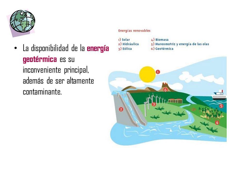La disponibilidad de la energía geotérmica es su inconveniente principal, además de ser altamente contaminante.