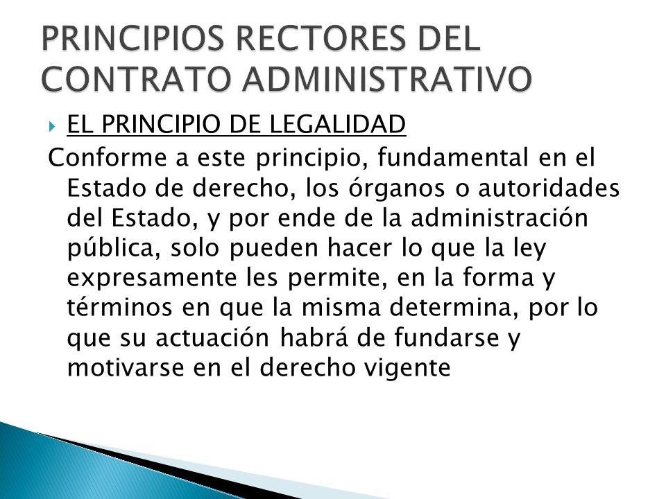 EL PRINCIPIO DE LEGALIDAD Conforme a este principio, fundamental en el Estado de derecho, los órganos o autoridades del Estado, y por ende de la admin