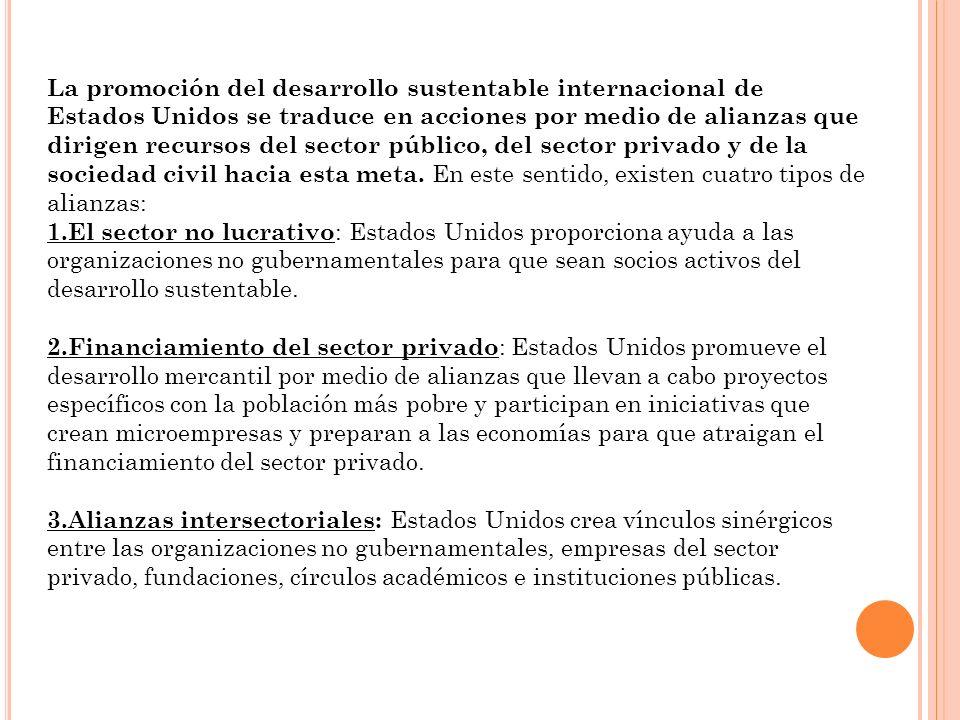 La promoción del desarrollo sustentable internacional de Estados Unidos se traduce en acciones por medio de alianzas que dirigen recursos del sector p
