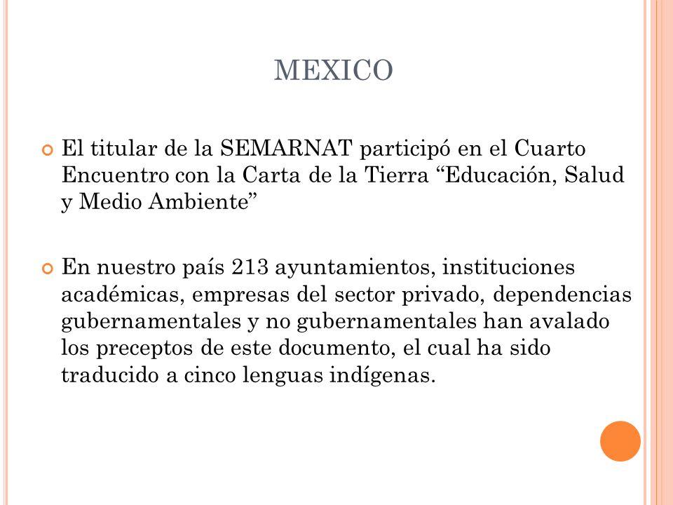 MEXICO El titular de la SEMARNAT participó en el Cuarto Encuentro con la Carta de la Tierra Educación, Salud y Medio Ambiente En nuestro país 213 ayun