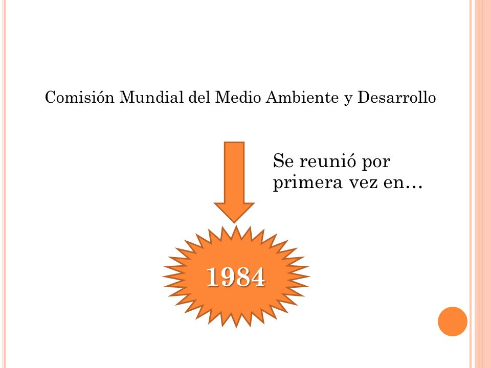 Comisión Mundial del Medio Ambiente y Desarrollo Se reunió por primera vez en… 1984