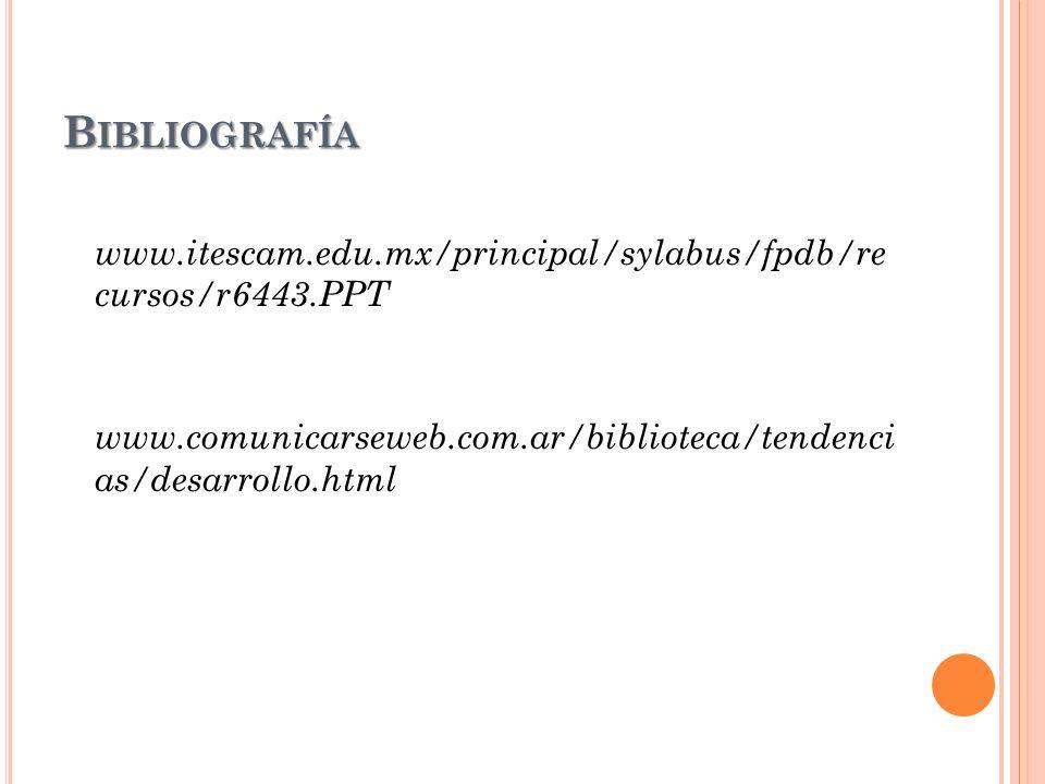 B IBLIOGRAFÍA www.itescam.edu.mx/principal/sylabus/fpdb/re cursos/r6443.PPT www.comunicarseweb.com.ar/biblioteca/tendenci as/desarrollo.html