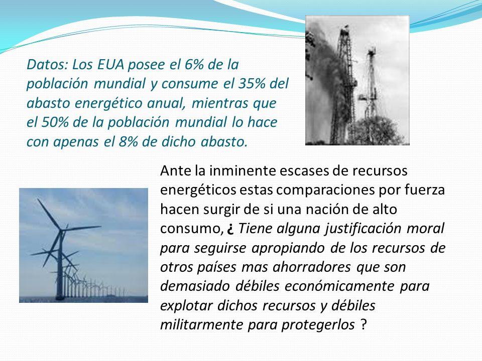 Datos: Los EUA posee el 6% de la población mundial y consume el 35% del abasto energético anual, mientras que el 50% de la población mundial lo hace c