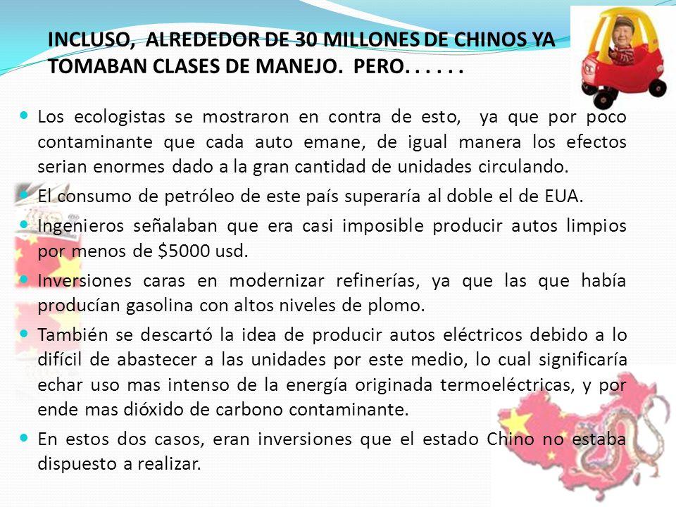 INCLUSO, ALREDEDOR DE 30 MILLONES DE CHINOS YA TOMABAN CLASES DE MANEJO. PERO...... Los ecologistas se mostraron en contra de esto, ya que por poco co