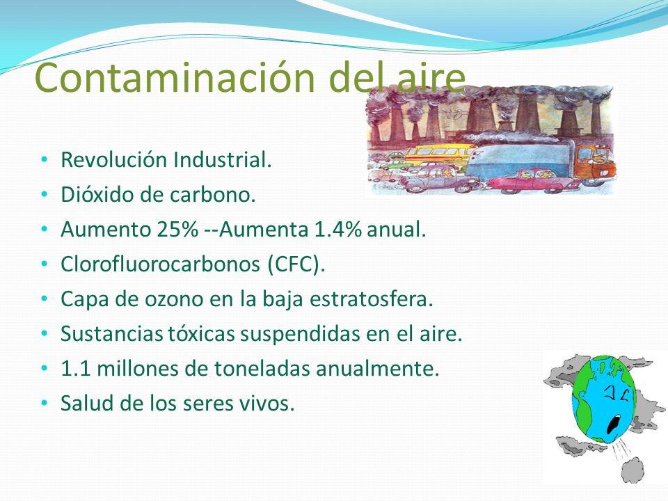 Contaminación del aire Revolución Industrial. Dióxido de carbono. Aumento 25% --Aumenta 1.4% anual. Clorofluorocarbonos (CFC). Capa de ozono en la baj