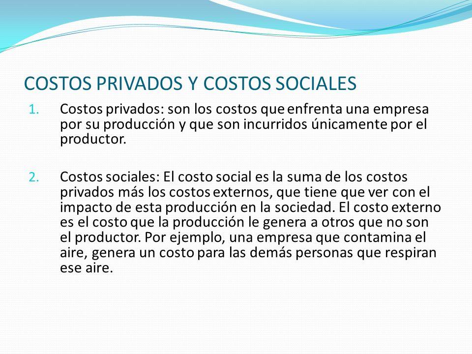 COSTOS PRIVADOS Y COSTOS SOCIALES 1. Costos privados: son los costos que enfrenta una empresa por su producción y que son incurridos únicamente por el