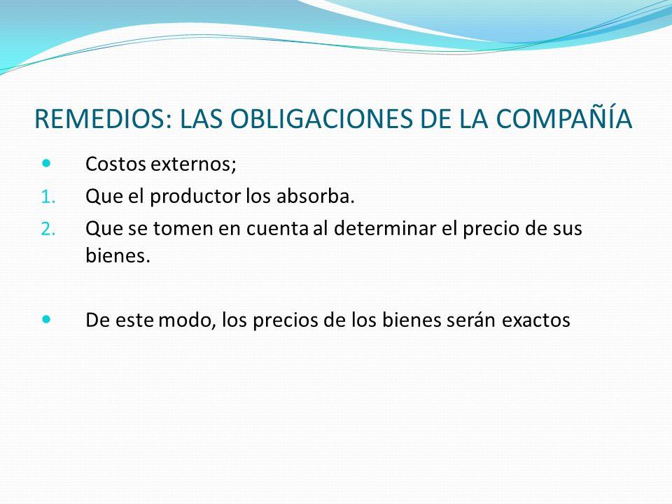 REMEDIOS: LAS OBLIGACIONES DE LA COMPAÑÍA Costos externos; 1. Que el productor los absorba. 2. Que se tomen en cuenta al determinar el precio de sus b