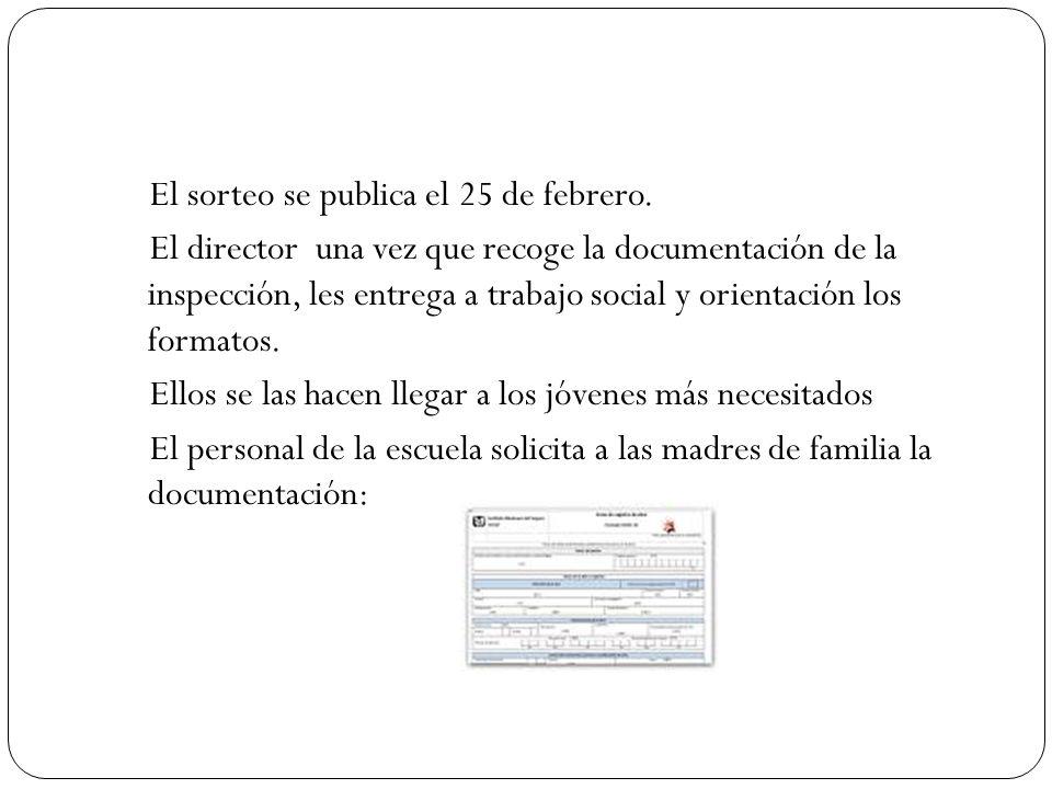 El sorteo se publica el 25 de febrero. El director una vez que recoge la documentación de la inspección, les entrega a trabajo social y orientación lo