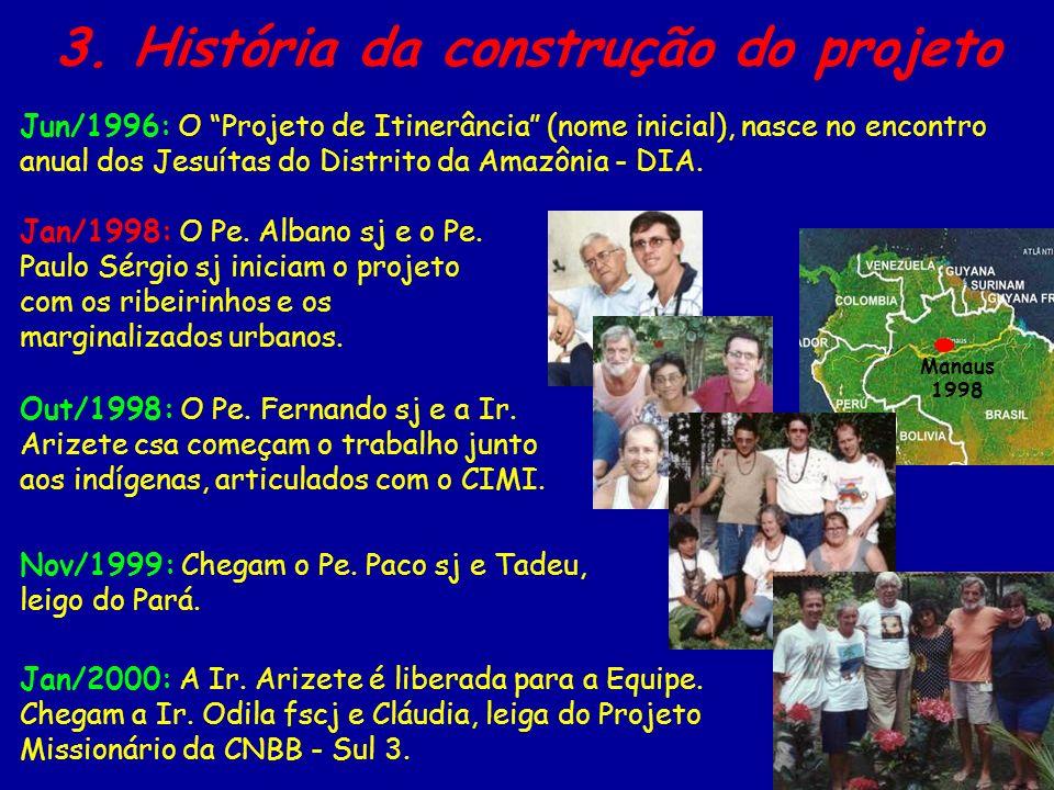 Manaus 1998 3. História da construção do projeto Jan/1998: O Pe. Albano sj e o Pe. Paulo Sérgio sj iniciam o projeto com os ribeirinhos e os marginali
