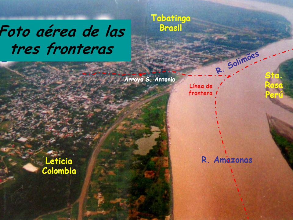Foto aérea de las tres fronteras Leticia Colombia Tabatinga Brasil Sta. Rosa Perú Arroyo S. Antonio Línea de frontera R. Solimões R. Amazonas