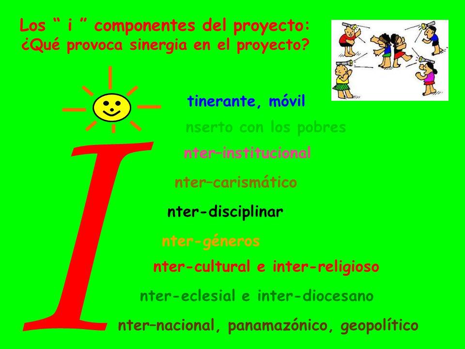 Los i componentes del proyecto: ¿Qué provoca sinergia en el proyecto? I nserto con los pobres nter–institucional nter-disciplinar tinerante, móvil nte