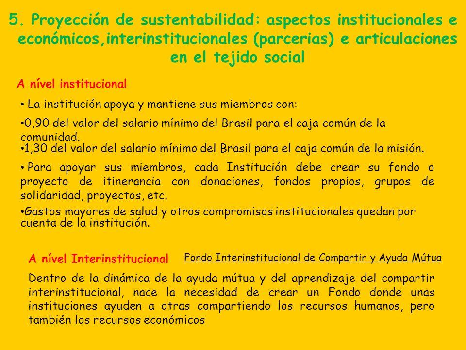 5. Proyección de sustentabilidad: aspectos institucionales e económicos,interinstitucionales (parcerias) e articulaciones en el tejido social La insti