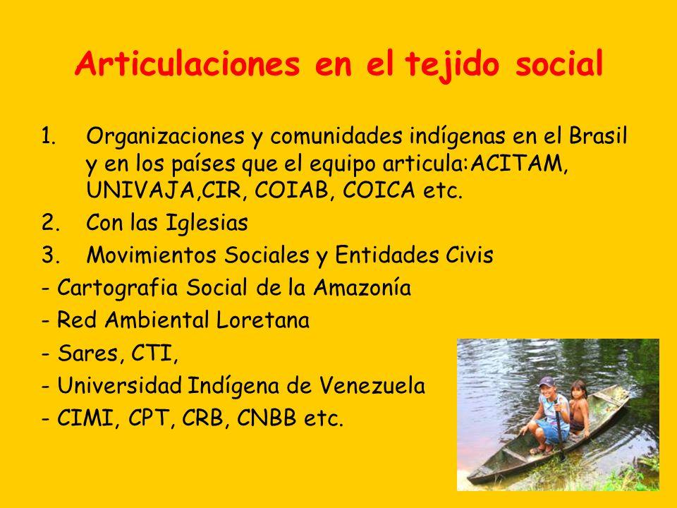 Articulaciones en el tejido social 1.Organizaciones y comunidades indígenas en el Brasil y en los países que el equipo articula:ACITAM, UNIVAJA,CIR, C