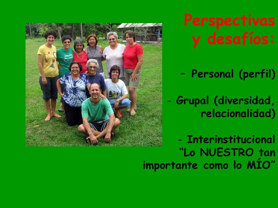 Perspectivas y desafíos: - Personal (perfil) - Grupal (diversidad, relacionalidad) - Interinstitucional Lo NUESTRO tan importante como lo MÍO