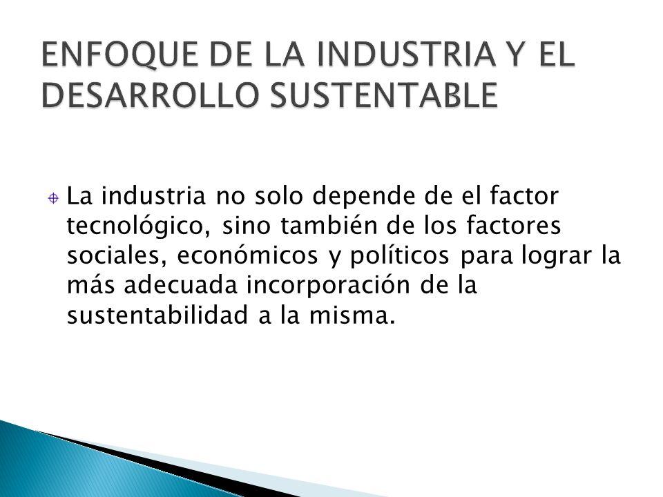 La industria no solo depende de el factor tecnológico, sino también de los factores sociales, económicos y políticos para lograr la más adecuada incor