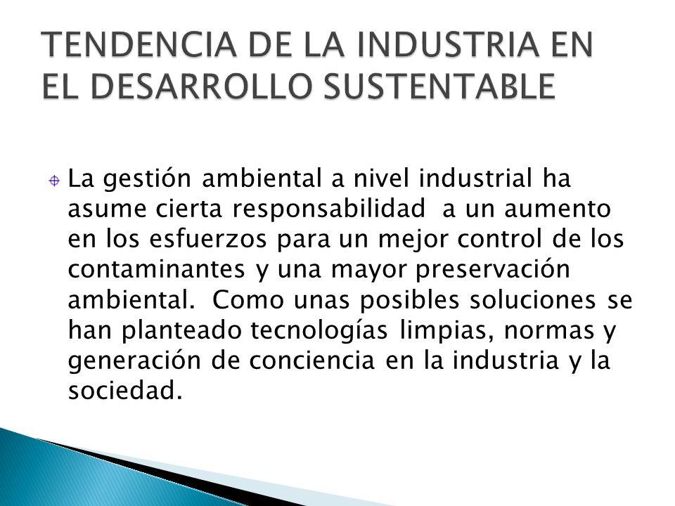 La gestión ambiental a nivel industrial ha asume cierta responsabilidad a un aumento en los esfuerzos para un mejor control de los contaminantes y una