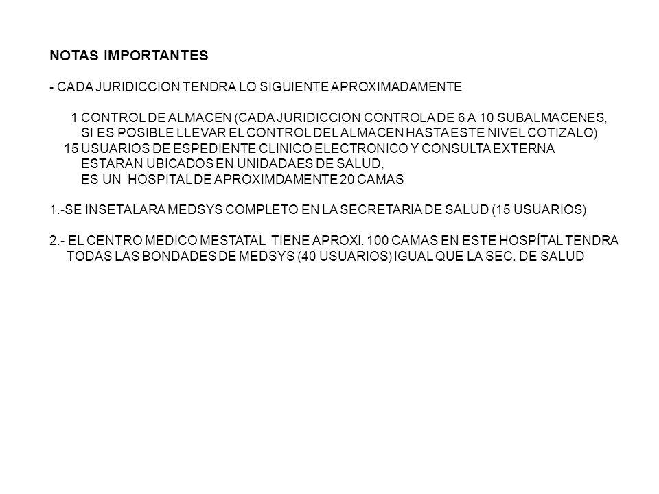 NOTAS IMPORTANTES - CADA JURIDICCION TENDRA LO SIGUIENTE APROXIMADAMENTE 1 CONTROL DE ALMACEN (CADA JURIDICCION CONTROLA DE 6 A 10 SUBALMACENES, SI ES