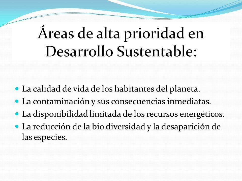 Áreas de alta prioridad en Desarrollo Sustentable: La calidad de vida de los habitantes del planeta. La contaminación y sus consecuencias inmediatas.